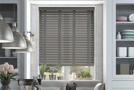 Grey Faux Wood Blinds