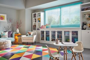 Custom color wood blinds
